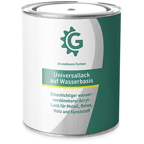 0,7 Kg Acryllack auf Wasserbasis von Grundmann Farben - 2in1 Lackfarbe für Holz, Metall, Plastik, Kunststoff & Beton - Halb Matt Weiss - Buntlack, Farbe, Lack – RAL 9010 Reinweiss