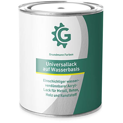 GRUNDMANN Acryllack auf Wasserbasis - 3 Kg - 2in1 Lackfarbe für Holz, Metall, Plastik, Kunststoff & Beton - Halb Matt Weiß - Buntlack, Farbe, Lack -RAL 9016Verkehrsweiß