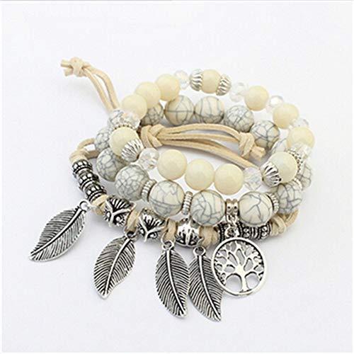 MNJLB Pulsera De Las Mujeres Encanto De Perlas De Múltiples Capas para Cuentas De Piedra Vintage Hojas Pulseras Joyas, F