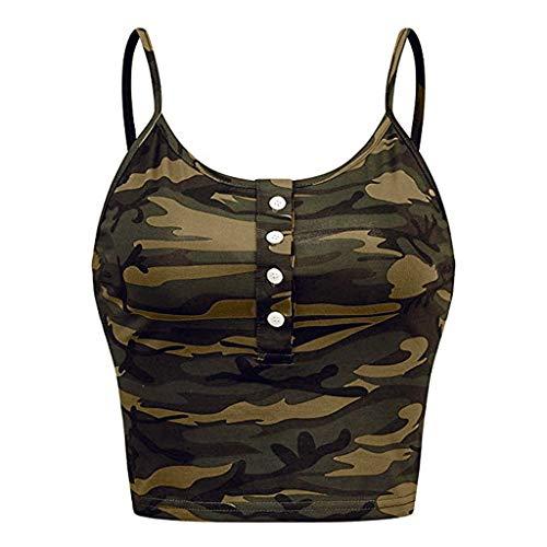 Momoxi Damen Sommer Open Back Camouflage ärmellose Lady Sport Weste Kurze Bluse Tops Sleeveless Vest Short Blouse Gelb M