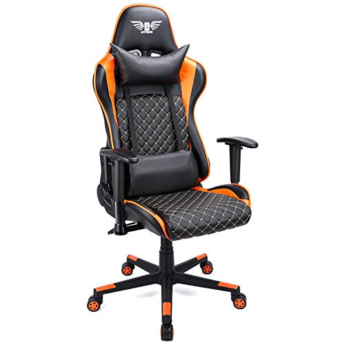 Acethrone Silla de gaming ergonómica con respaldo alto, reposabrazos ajustable, silla de escritorio para ordenador con reposacabezas y soporte lumbar, color naranja