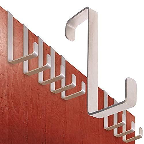 Perchero puerta – conjunto de 10 piezas, acero inoxidable – Made in Germany percha puerta sin perforación - colgador especialmente fuerte