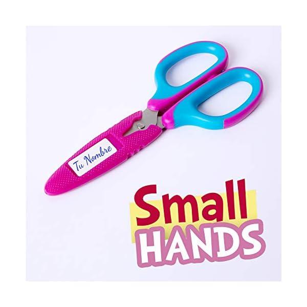 Tijeras SDI Small Hands para Diestros y Zurdos con Cubierta Protectora Personalizable, Puntas Redondas y Mango de Seguridad. Color Amarillo y Rosa