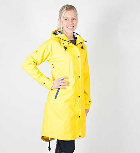 PFIFF Damen Regenmantel -NACE- wasserdicht Fleeceinnenfutter Jacke, gelb, XL