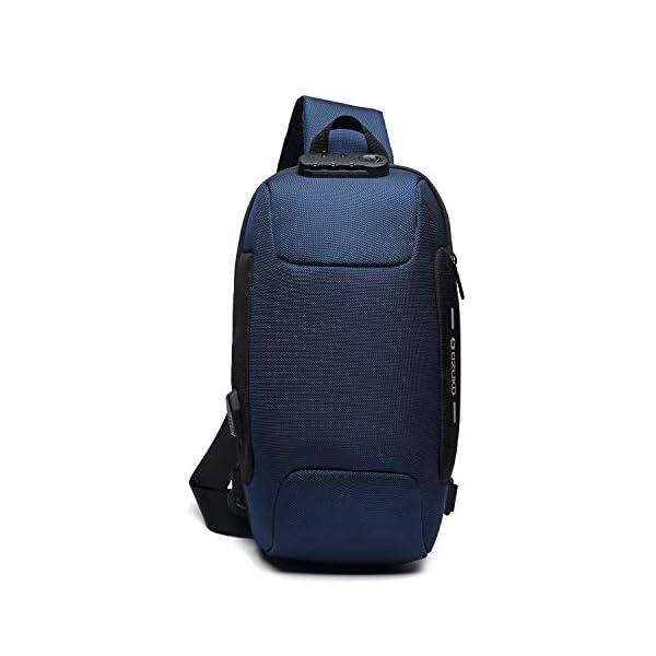 41kxFDxSWfL. SS600  - FANDARE Nuevo Bolsa de Pecho Antirrobo Bolsa Deportiva de Hombro Hombre Bolsa de Honda Mochila con Cerradura de contraseña/USB,para Acampada,Viaje,Ciclismo,Senderismo Impermeable Poliéster Azul