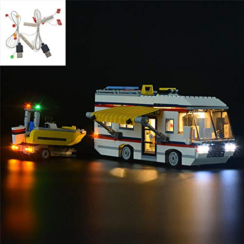 QJXF USB-Licht-Satz Kompatibel Mit Lego Creator Ferientrips 31052, LED-Licht-Kit Für (Ferientrips) Building Blocks Model (Nicht Im Lieferumfang Enthalten Modell)