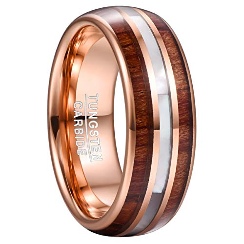 VAKKI 8mm Mens Mother of Pearl Wedding Band Rose Gold Domed Wood Inlay Tungsten Carbide Promise Ring Size T