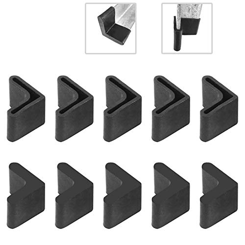 Hilitchi 20 Pcs 25mm x 25mm L Shaped Black Rubber Angle Iron Caps Furniture Angle Pads Bed Steel Frame Racks Shelves Rubber Feet Covers