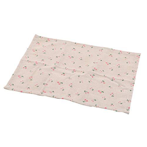 YYZLL Plaid Print Napperon Simple Coton Serviettes en Lin Tapis De Table Pad Vaisselle Cuisine Salle À Manger Accessoires,Blanc + Cerise
