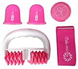 Stephanie Franck Beauty Set Anticellulite 2 - con un Rullo Massaggiante, due Coppette S e Fitness Elastica (Rosa)