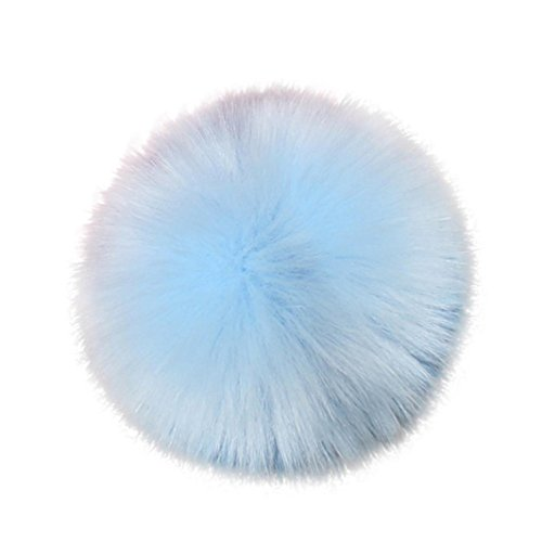 Iuhan DIY Faux Fox Fur Fluffy Pompom Ball for Knitting Hat Hat Accessories Keychain (Blue)