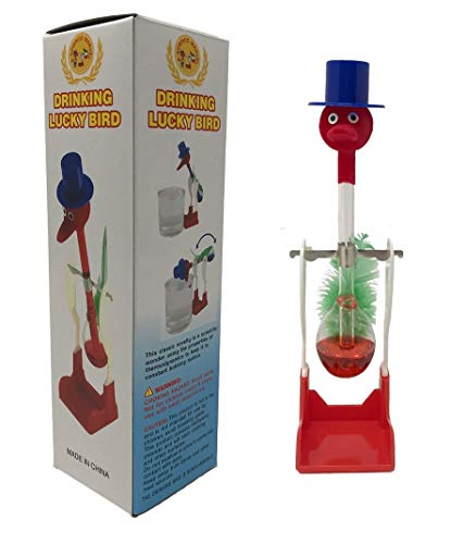 TheGag Drinking Bird Perpetual Motion (2 Pack) The Original Vintage Retro Magic Sippy Dipping Bird A Science Wonder Wholesale Bulk Set of 2-The Incredible Bird That Drinks Water from