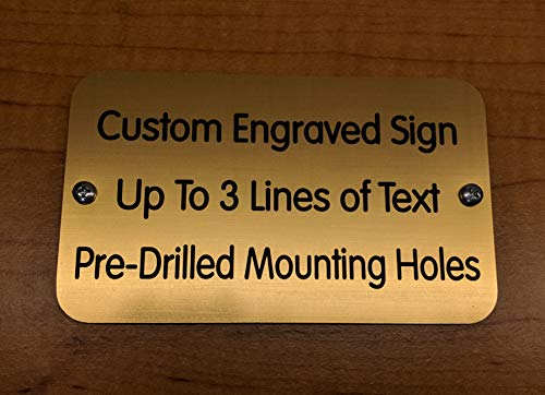 Custom Engraved 3x5 Sign with Mounting Holes + Screws | Brushed Metal Finish | Fence-Mount, Shed Garage Shop Garden Landscape Deck Built by Plaque Trophy (Brushed Gold)