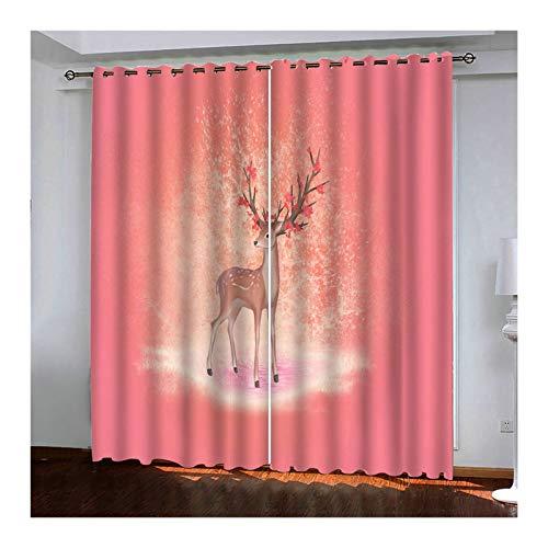 Daesar Lot Rideau Occultant Thermiques Rideau Thermique Fleurs et Cerfs Rideau Fenetre Motif 214x274CM Rideau Opaque Rose