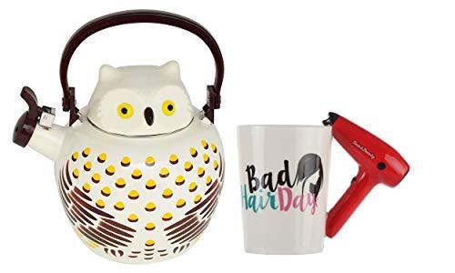 HOME-X Owl Whistling Tea Kettle & Hair Dryer Handle Ceramic Mug