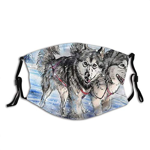 Pet Dog Animal Two Cute Dogs Alaskan Malamute Siberian Husky Running in Snow Mountain Dust Mouth cover Face Cover Washable Reusable,Dustproof,Cycling