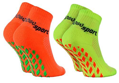 Rainbow Socks - Jungen Mädchen Neon Sneaker Sport Stoppersocken - 2 Paar - Orange Grün - Größen 24-29