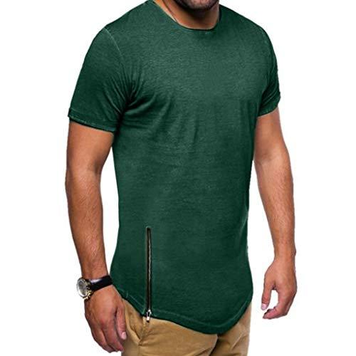 Xmiral T-Shirt Uomo T-Shirt Semplice Moda Casuale Maniche Corta T Shirt Maglietta da Uomo Camicie da Uomini Tees Manica Lunga Tops Maniche Corte Polo Maglietta Uomo XXXL Verde