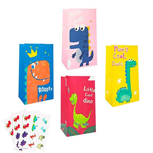 32 Piezas,Dinosaurio Bolsas de Papel,Bolsas para Chuches,Fiesta de Cumpleaños Favores Bolsas,Bolsa de Papel Kraft,Bolsas de Regalo,Bolsa de Regalo de Dinosaurio. (color)