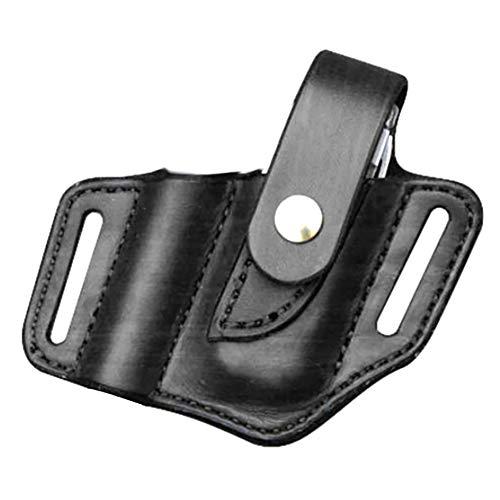 Yiyer EDC Leather Sheath, Knife Belt Sheath, Leather Flashlight Holster for Leatherman Multitools Sheath, Organizer Sheath for Knives/Flashlights/Tactical Pens/Tools (Black)