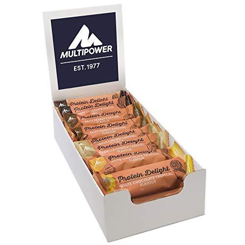Multipower Protein Delight Mix Box, 18 x 35 g Protein Riegel Box (630 g) - Leckerer Energieriegel - 4 Geschmacksrichtungen