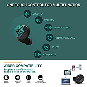 YW YUWISS T04 Bluetooth 5.0 True Wireless Earbuds Touch Control with Charging Case Cordless in Ear Headphones IPX8 Waterproof with Noise Cancelling Mic for Apple iPhone Android Samsung (Black)