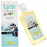 Lysi JR- Omega 3 en Aceite de Bacalao - Sabor Limón - 2500 mg de EPA DHA Omega3 + Vitaminas A, D y E - 240 ML