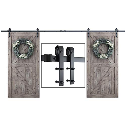 SMARTSTANDARD 13 Feet Heavy Duty Double Gate Sliding Barn Door Hardware Kit-Smoothly and Quietly-Easy Installation-Includes Detailed Instruction-Fit 36'-40' Wide DoorPanel (J Shape Hanger)