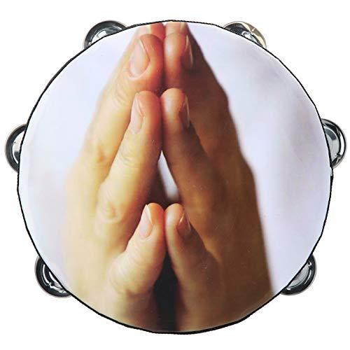 Pandereta de mano con tambor de palmada de campanilla Interesante para entretenimiento familiar(prayer)