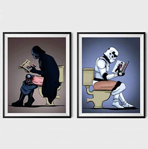 Darth Vader Stormtrooper On The Toilet Poster Set (Set of 2)