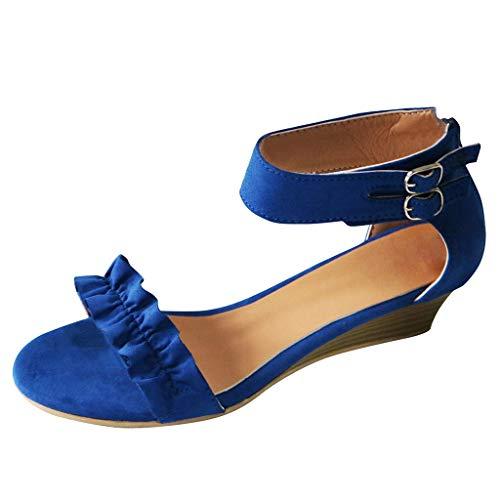 MIRRAY Sommer Frauen Open Toe Atmungsaktive Blumen Sandalen Reißverschluss Casual Wedges Schuhe