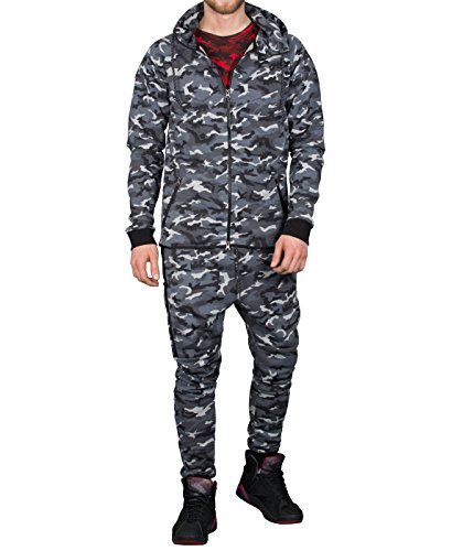 BetterStylz King George Herren Jogginganzug Camo Jacke Hose Sportanzug Sporthose Fitness Trainingsanzug Sport in Grey Urban Camo (M)
