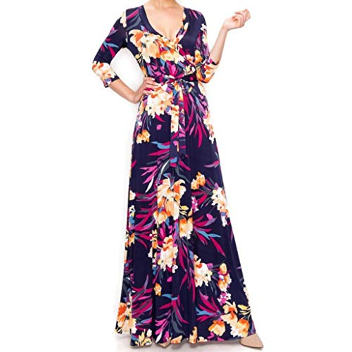 Janette Fashion Purple Rust Floral Flare Faux Wrap Maxi Dress
