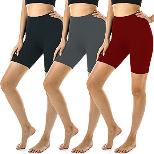 FULLSOFT 3 Pack Biker Shorts for Women - 7' Soft Spandex Shorts for Summer Workout Running Yoga Athletic-Reg&Plus Size
