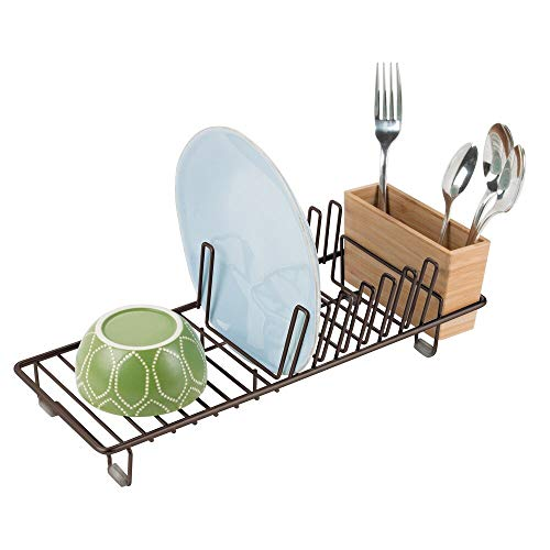mDesign Compact Modern Kitchen Countertop, Sink Dish Drying Rack, Removable Cutlery Tray - Drain and Dry Wine Glasses, Bowls and Dishes - Metal Wire Drainer in Bronze with Natural Bamboo Caddy