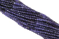 """Iolite 3mm Faceted Rondelles 13"""" Bead Strand"""