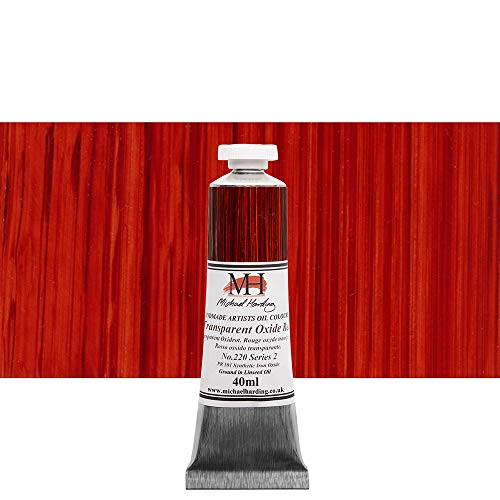 Michael Harding Artist Oil Colours, Transparent Oxide Red, 40ml Tube, 22040