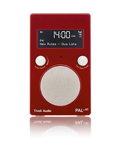 Tivoli Audio Pal+ BT tragbares Radio FM/DAB+/Bluetooth, inkl. Akkupack und Fernbedienung, rot/weiß