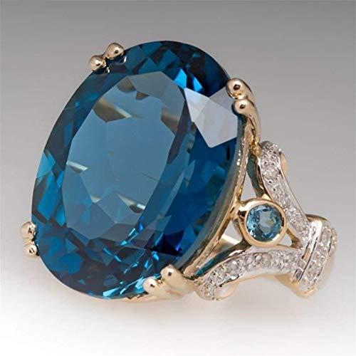 Ogquaton Enorme Anillo de Diamantes Nupcial Brillante circón cúbico Anillo Regalo de joyería para Mujeres, Azul, 12 Muy práctico y Popular