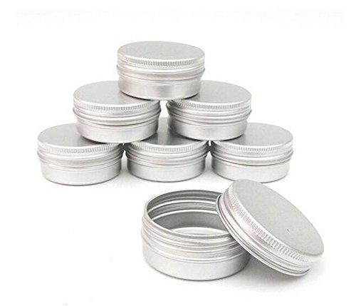 Pack von 12 Aluminium Tin Jars Runde Topf Schraubverschluss Deckel für Lippenbalsam Nail Art Creme Kosmetik bilden Lidschatten Pulver Topf Jar Zinn Fall Container (100ML)
