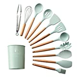 12-PCS Silicone Cooking Kitchen Utensils Set with Holder, Wooden Handles Cooking Tool BPA Free Non Toxic Turner Tongs Spatula Spoon Kitchen Gadgets Set for Nonstick Cookware (Green)
