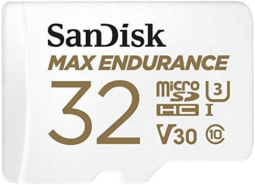 SanDisk MAX ENDURANCE Carte microSDHC 32Go Adaptateur SD pour le monitoring vidéo domestique ou sur dashcam – 15 000 heures d'enregistrement