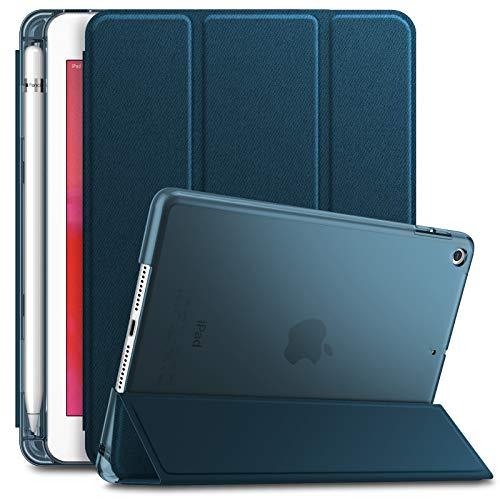 INFILAND Hülle für iPad Mini 5 mit Apple Pencil Halter, Slim Ultraleicht PC Shell Schutzhülle Cover mit Auto Schlaf/Wach Funktion,Dunkleblau
