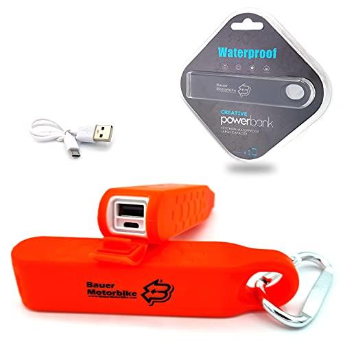Bauer Motorbike Juice Powerbank Mini 3000 mAh con cable de carga USB IPX6 impermeable y robusta, batería portátil con correa de fijación para camping y actividades al aire libre, todo tipo (naranja)