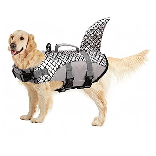 PUMYPOREITY Chaleco Salvavidas para Perros Mascotas Chaqueta Chaleco de Seguridad Perro Perrito Ropa de Baño para Perros pequeños, medianos, Grandes(Gris, XL)