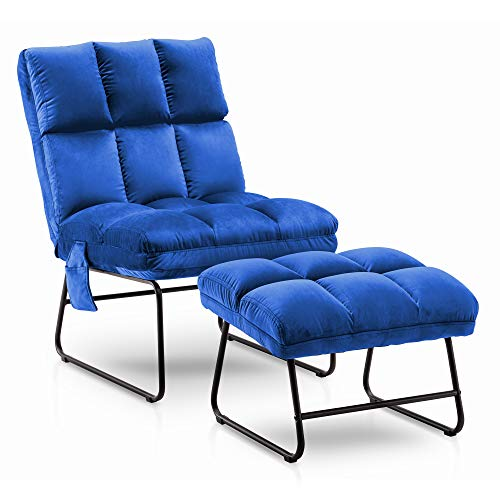 Mcombo Living Room Chairs with Ottoman, Modern Velvet Accent Chair Side Pocket Metal Legs, Club...