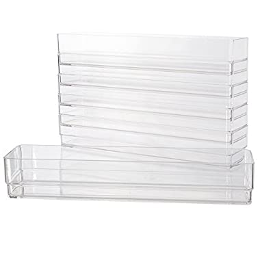 Clear Plastic Drawer Organizers 12  x 3  x 2  l Set of 6