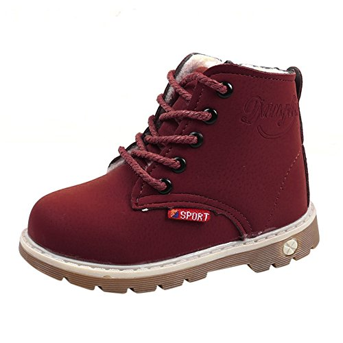 WUAI Kids Toddler Girls Boys Ankle Boots Lace Up Waterproof Side Zipper Winter Booties Rain Hiking Skiing Sonw Boots(WineRed,1-1.5 Years)