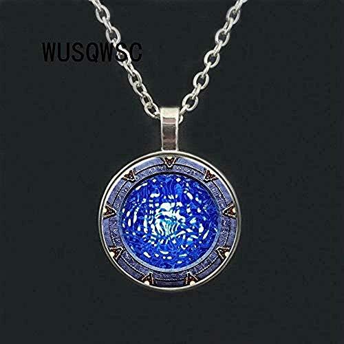 BACKZY MXJP Halskette Herren Halskette Stargate Portal Atlantis Halskette Glas P O Cabochon Glas Halskette