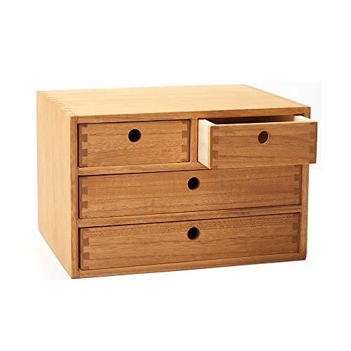 Organizadores de escritorio de madera con cajones Espacio de trabajo en casa Suministros de oficina Caja de almacenamiento de madera Estantería Caja de maquillaje con 4 cajones Natural